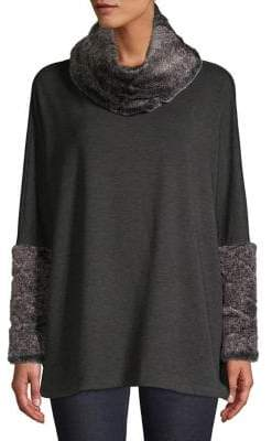 Context Faux Fur-Trimmed Heathered Top