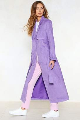 Nasty Gal Go Back a Long Way Faux Suede Trench Coat