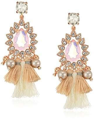 Badgley Mischka Womens Tassel Pearl Drop Earrings