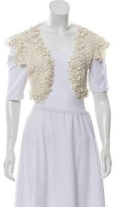 Oscar de la Renta Embellished Crochet Shrug White Embellished Crochet Shrug