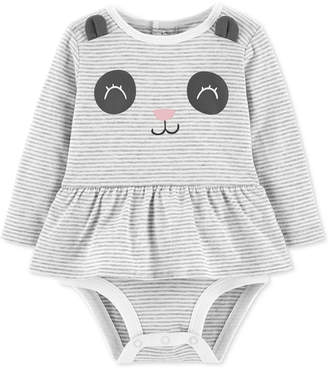 Carter's Baby Girls Raccoon Striped Skirted Cotton Bodysuit