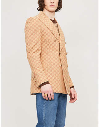 Gucci Logo-jacquard regular-fit cotton-blend blazer