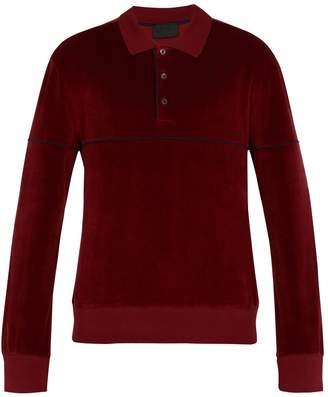 Prada Long-sleeved chenille-cotton polo shirt