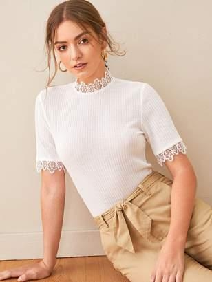 Shein Keyhole Back Lace Trim Slim Knit Top