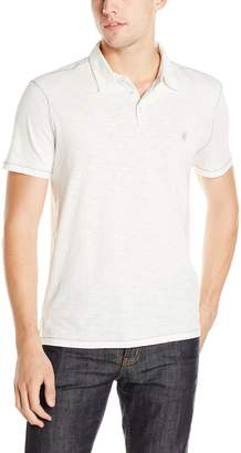 John Varvatos Star Men's Slub Short Sleeve Polo With Pick Stitch And Peace Logo