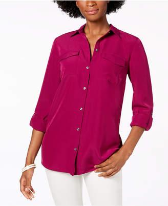Charter Club Petite Cuffed-Sleeve Shirt, Created for Macy's