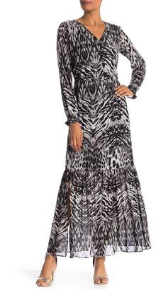 ECI V-Neck Animal Print Maxi Dress