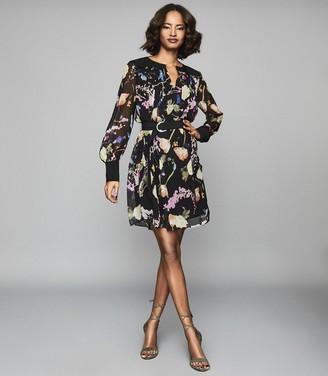 Reiss FINN Floral-print crinkled sheer dress Black