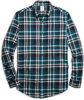 Brooks Brothers Regent Fit Flannel Grid Plaid Sport Shirt