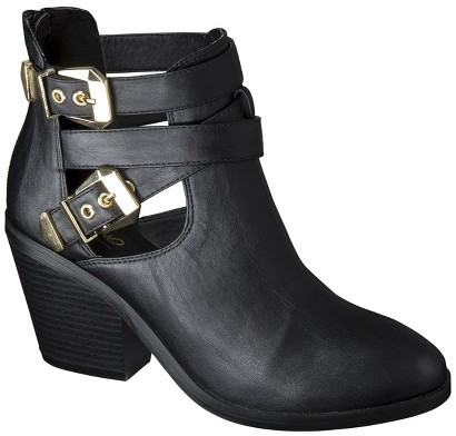 Mossimo Women's Lina Buckle Ankle Boot - Black