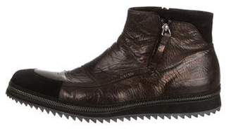 Cesare Paciotti Textured Leather Ankle Boots