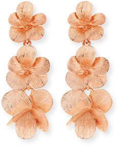 Oscar de la Renta Brushed Textured Flower Drop Clip Earrings