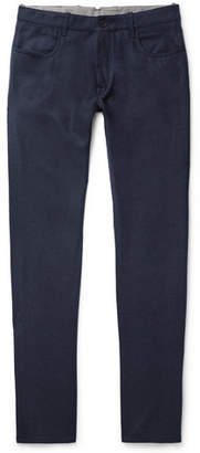 Canali Virgin Wool-flannel Trousers - Navy