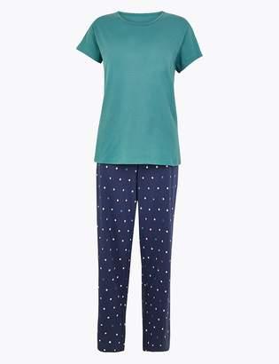 Marks and Spencer Spot Print Pure Cotton Pyjama Set