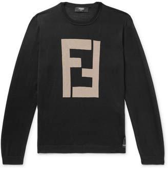 Fendi Logo-Intarsia Cashmere And Silk-Blend Sweater