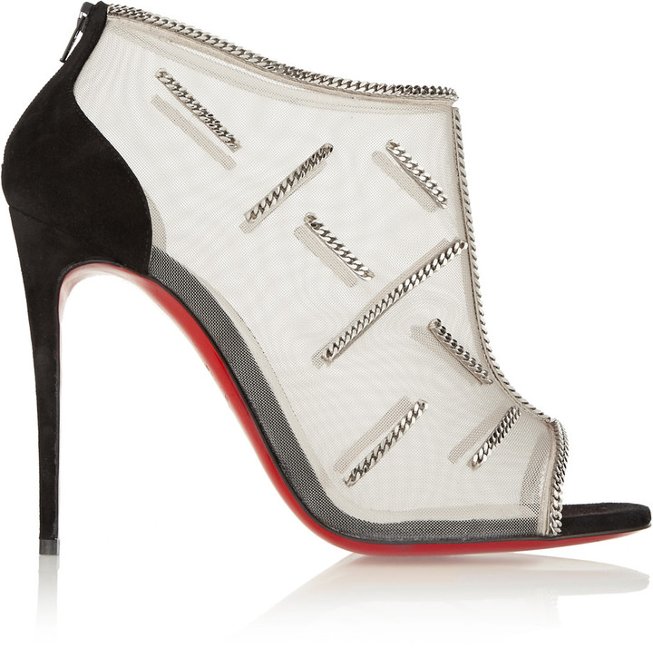 Christian Louboutin Christian Louboutin Signifiamma 100 chain-embellished mesh and suede ankle boots