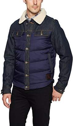 Buffalo David Bitton Men's Jivilt Ls Full Button Nylon and Denim Fashion Jacket