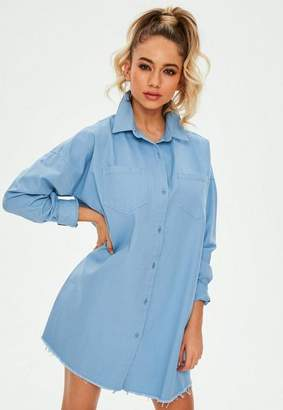 Missguided Blue Ultility Shirt Dress, Blue