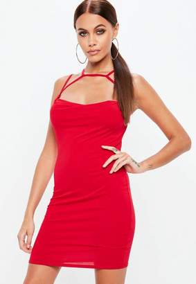 Missguided Red Cowl Front Multi Strap Jersey Dress