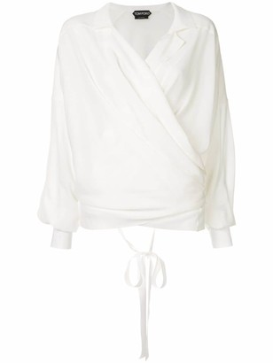 Tom Ford long-sleeve wrap blouse