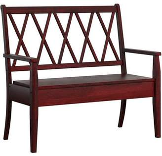 Generic Weston Home Farmhouse Storage Bench with Cross Back