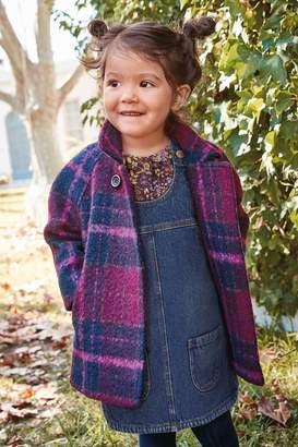 Next Girls Plum Wool Check Coat (3mths-7yrs) - Purple