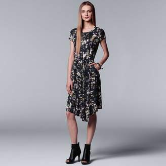Vera Wang Women's Simply Vera Print Asymmetrical T-Shirt Dress