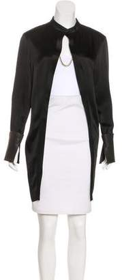Sally LaPointe Leather-Trimmed Lightweight Coat