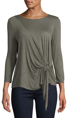 INC International Concepts Petite Tie Front Quarter-Sleeve Top