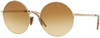 Burberry Monochromatic Round Semi-Rimless Sunglasses