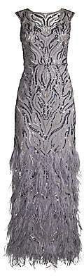 Aidan Mattox Women's Sequined & Feathered Tulle Column Gown - Size 0