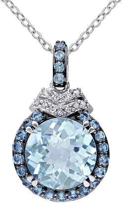 FINE JEWELRY Genuine Blue Topaz and Diamond-Accent Drop Pendant Necklace