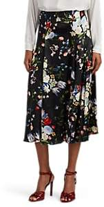 Erdem Women's Vesper Floral Silk Satin Midi-Skirt - Black Multi