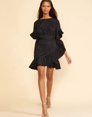 Cynthia Rowley Black Wallflower Ruffle Wrap Dress