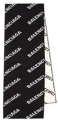 Balenciaga Logo camel hair and wool scarf