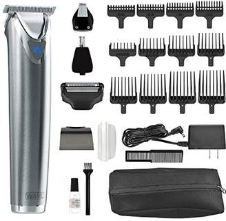 Wahl Clipper Stainless Steel Lithium Ion Plus Beard Trimmer Kit No.9864SS Cordless Rechargeable Men's Grooming Kit for Haircuts and Beard Trimming