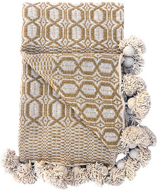 One Kings Lane Vintage Moroccan Cotton Pom-Pom Blanket - Habibi Imports