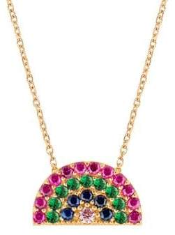 22K Gold Vermeil & Multi-Color Crystal Rainbow Pendant Necklace