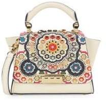 Zac Posen Eartha Floral Embellished Leather Satchel