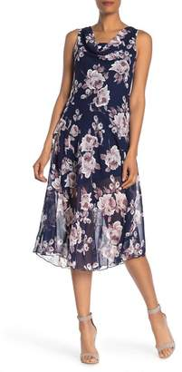 Robbie Bee Cowl Neck Floral Midi Dress
