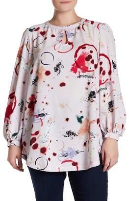 Melissa McCarthy Keyhole Blouson Sleeve Printed Blouse (Plus Size)