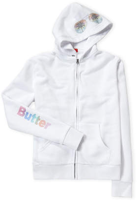 Butter Shoes Girls 7-16) White Surf Zip-Up Hoodie