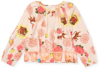 Billieblush Little Girl's Ruched Print Top