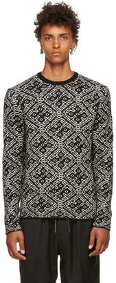 Neil Barrett Black and White All Over Knit Sweater