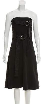 Celine Belt-Accented Strapless Dress