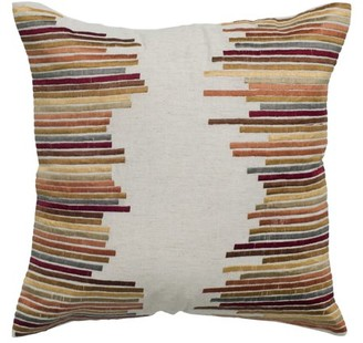 "Wildon Home Rizzy Home Decorative Poly Filled Throw Pillow Stripe 18""X18"" Khaki"