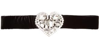 ALESSANDRA RICH Embellished-heart velvet waist belt