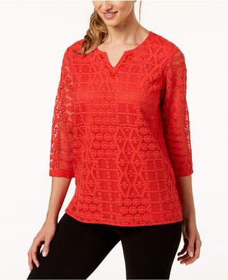 Alfred Dunner Petite Lace Split-Neck Top
