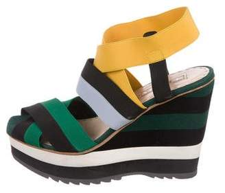 Prada Striped Wedge Sandals