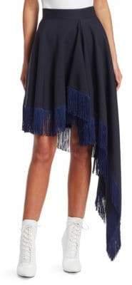 Calvin Klein Asymmetric Wool Fringe Skirt